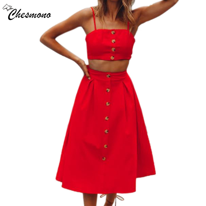 Women's Adjustable Spaghetti Straps Top 2peace set dress Elastic Waist Solid Color Print Button Causal Suit Summer dresses