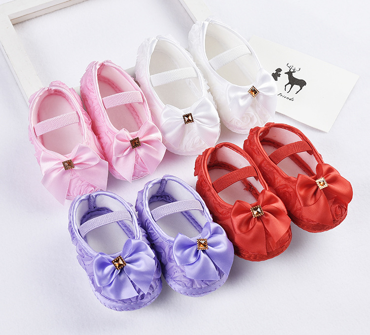 Shoes Girls Rubber-Sole Canvas Baby Newborn-Baby Princess Summer Bowknot with 0-1-Years