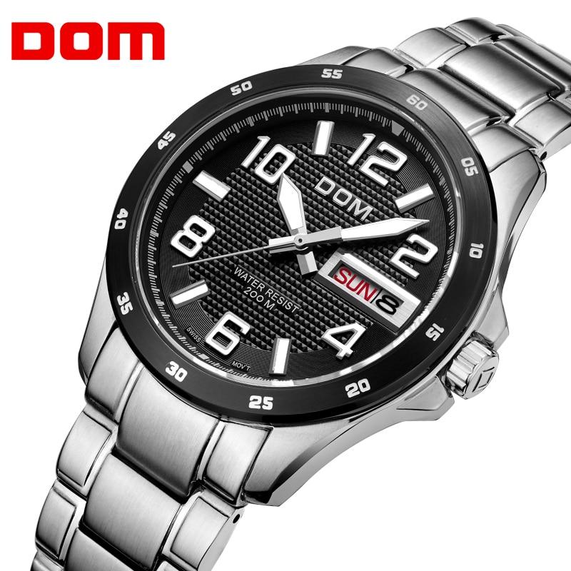 все цены на DOM Dive Waterproof 200m Watch Men Luxury Brand Top Quartz Stainless Steel Watches for Men Calendar Fashion Relogio Masculino онлайн