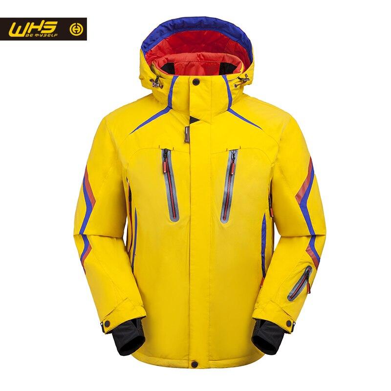 WHS 2018 nueva chaqueta de esquí para hombre abrigo abrigado a prueba de viento chaqueta de snowboard impermeable para Hombre Ropa deportiva al aire libre de invierno color brillante