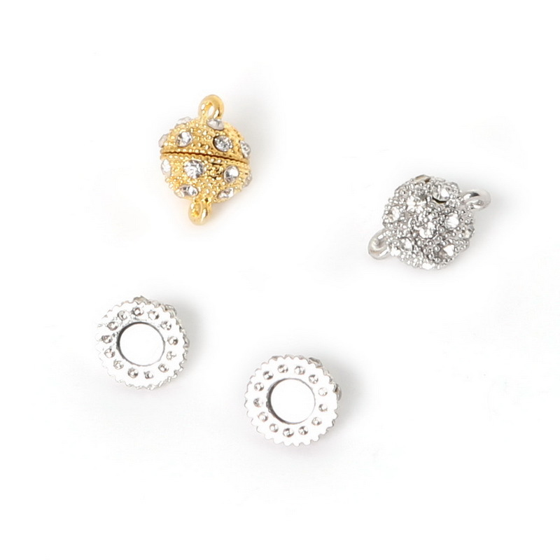 5//10Pcs Gold Silver Plated Strong Magnetic Round Ball Crystal Rhinestone Clasps