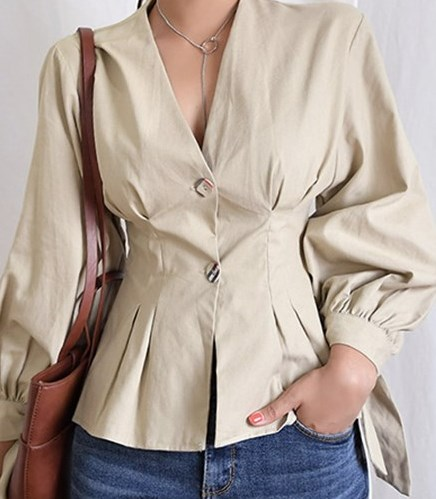 0e8ae91b2ab JUJULAND ladies autumn chic tops blouse Solid V Neck shirt with Button  office wear blouse nine quarter elegant Casual style 2018-in Blouses    Shirts from ...