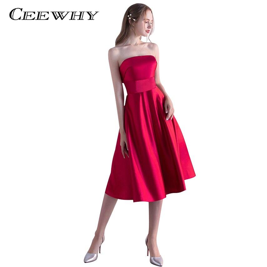 CEEWHY Strapless Prom Dress Satin Formal Dress Vestidos de festa Short Evening Party Dress A line
