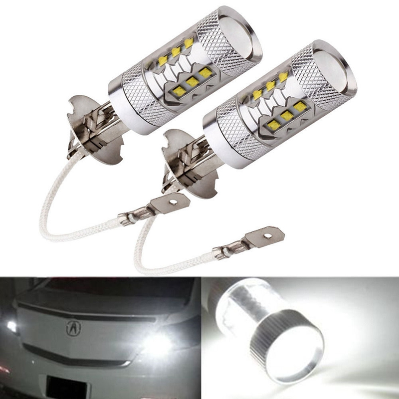2x H3 80W LED Silver Car Auto Headlight Fog Lights DRL Daytime Running Lamp Bulb 6000K For DC 12V-24V Car Styling high quality h3 led 20w led projector high power white car auto drl daytime running lights headlight fog lamp bulb dc12v
