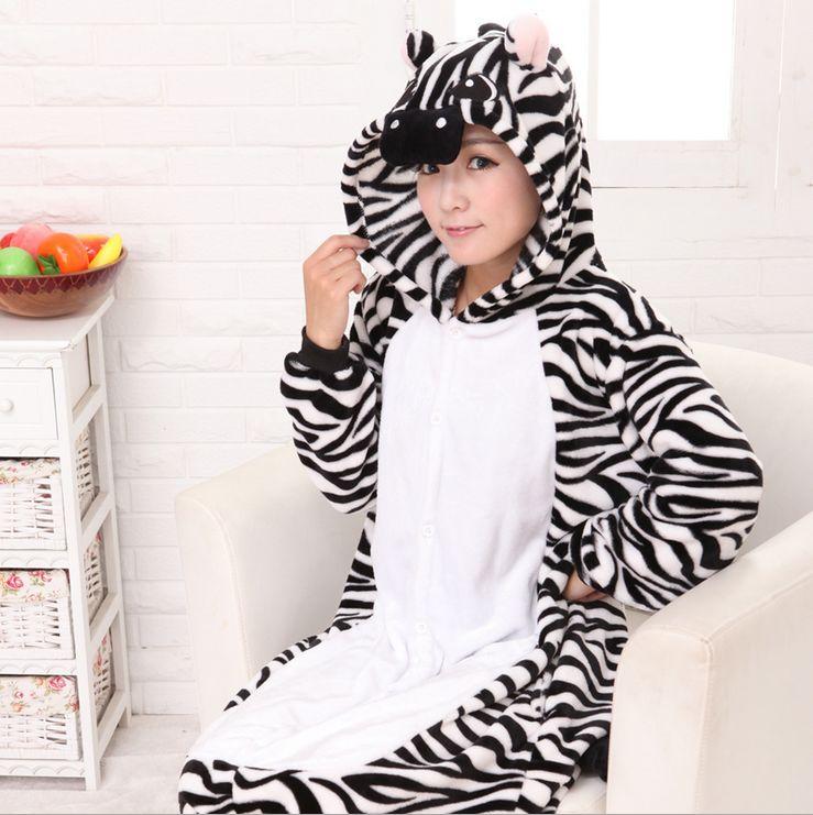 1e8135292 ₩Couples Pajamas Women s Zebra Full Sleeve Hooded Polyester Pajama ...