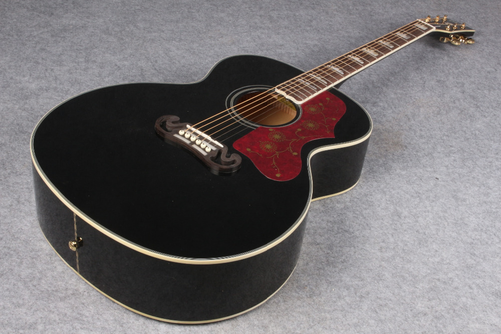 black finish Chibson J200 acoustic guitar Super Jumbo J200 style acoustic guitar   free shipping