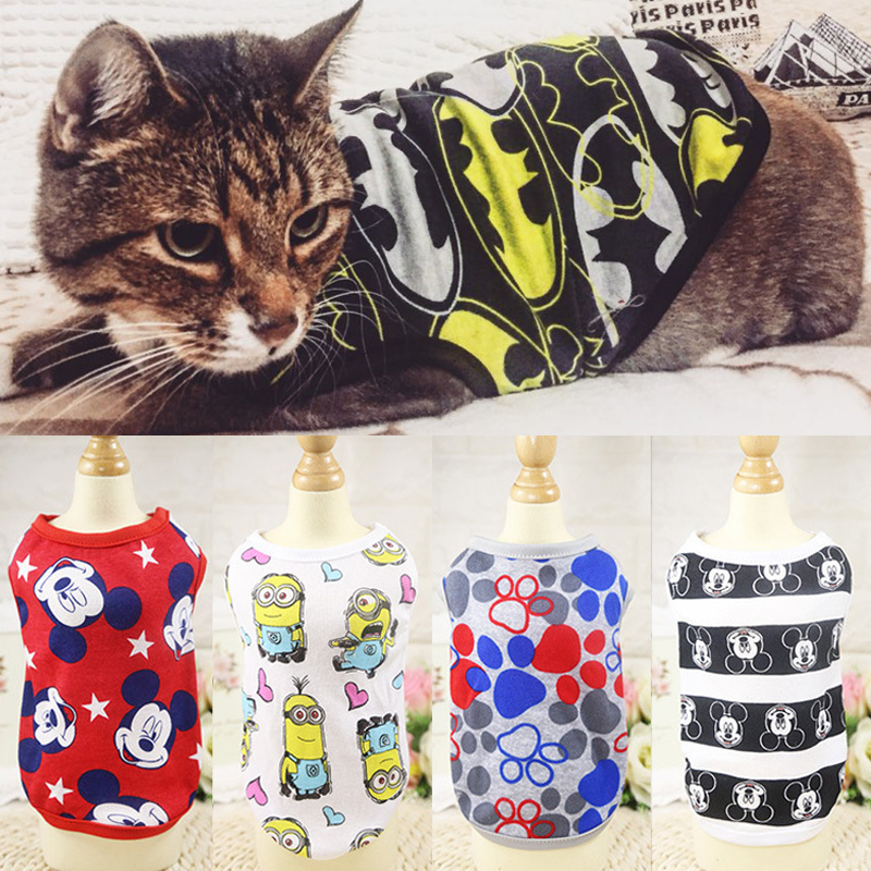 New Summer Cat Costumes Clothes Cartoon Cotton Cat Vest Pet T Shirt Clothing For Cats Kitty Kitten Shirt Outfit Pet Dog Clothes