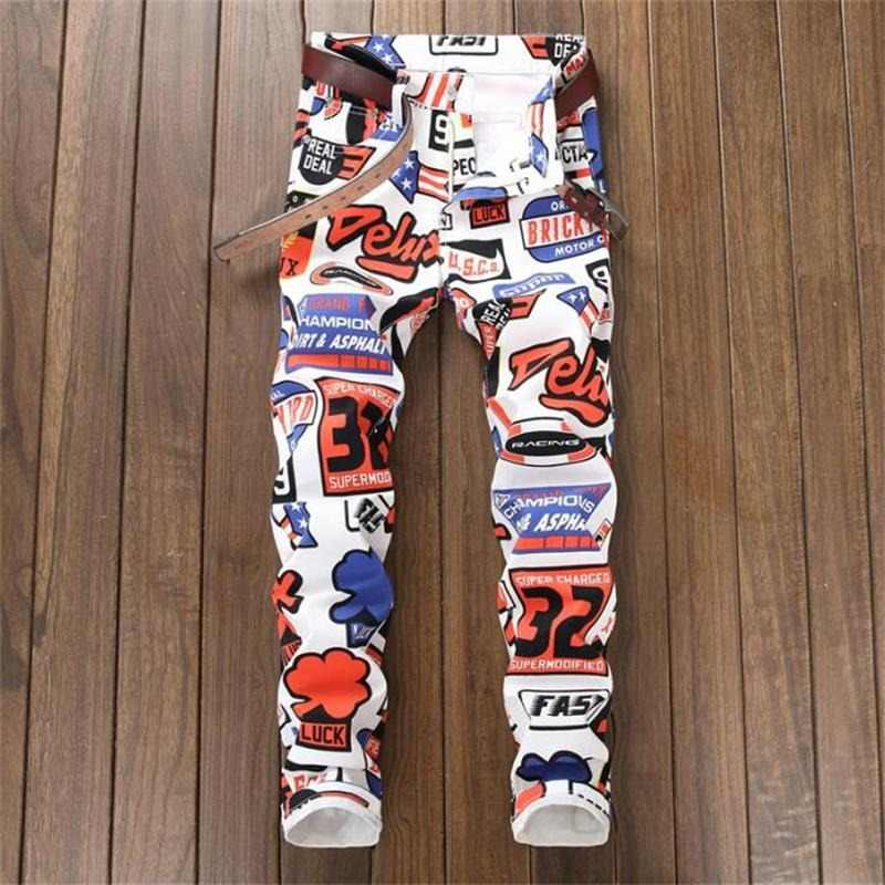 fea6973f 2018 new jeans men imprimer Color printing design stretch jeans Soft  Comfortable European and American style