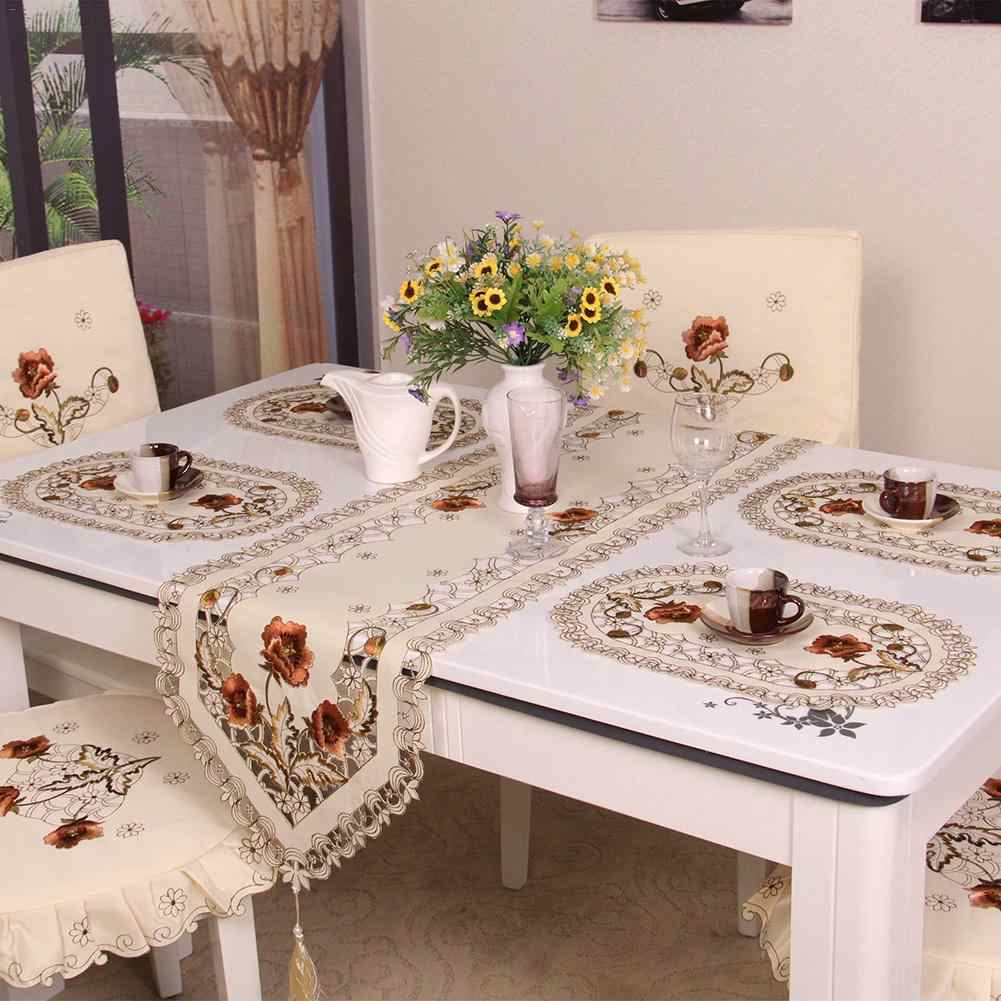 Retro European Pastoral Embroidered Floral Tablecloth Table Runner Home Kitchen Dining Room Decoration Decor Chemin De Table