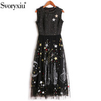 Svoryxiu 2018 Autumn Runway Sleeveless Dress Women's High Quality Rough Blended Patchwork Mesh Embroidery Party Midi Dress