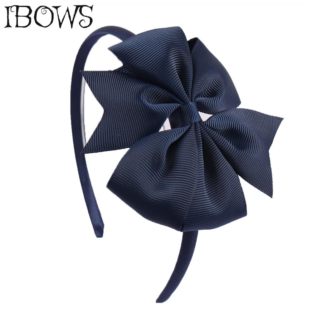 4 ''Handmade Mädchen Haar Bögen Haar Band Candy Farbe Ripsband Windrad Stirnbänder Für Kinder Boutique Haar Zubehör