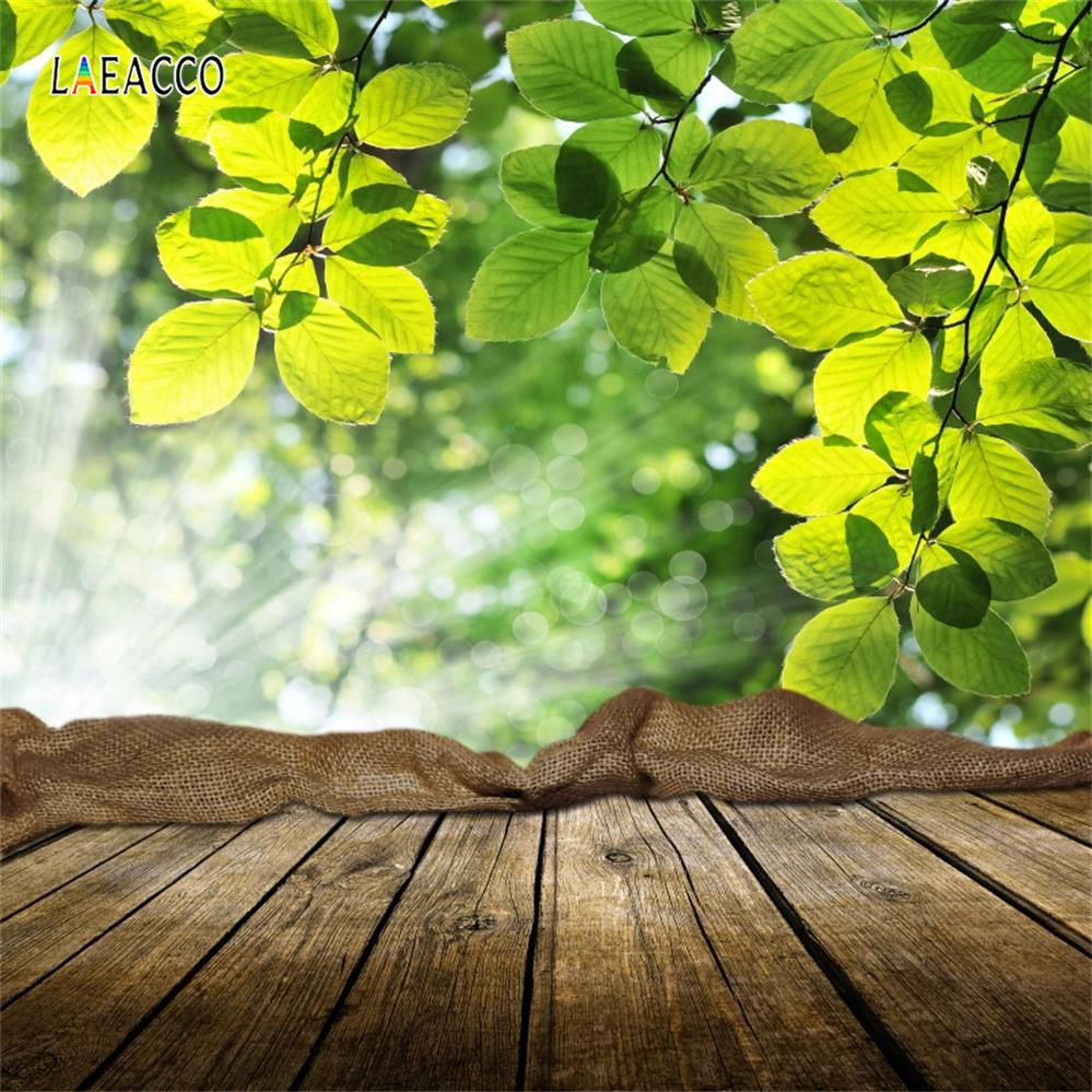 Green Tree Leaves Wooden Floor Polka Dots Baby Party Portrait Spring Photo Backgrounds Backdrops Photocall Studio