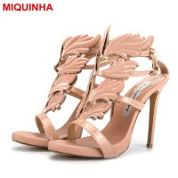 Sliver Gold Metallic Rhinestone Winged Leaves Cut Outs Patent Leather Women Sandals High Heels Summer Cruel