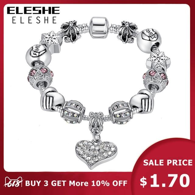 ELESHE יוקרה מותג נשים צמיד כסף מצופה גביש נשים DIY 925 חרוזים צמידים & צמידי תכשיטי מתנה