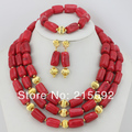 Costume African Coral Beads Jewelry Set 3 Rows Coral Beads Necklace Bracelet Earrings Set Free Shipping CJ094