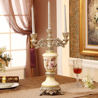 European luxury three candles Taiwan High Court retro Home Furnishing housewarming gift Wedding Candle ornaments