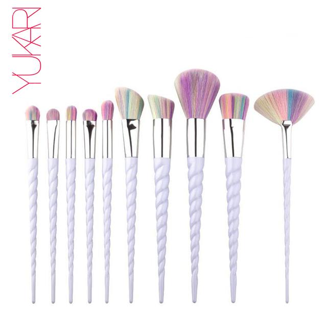 YUKARI 5/10PCS Diamond Makeup Brush Rainbow Hair Cosmetic Foundation kwaste Eyeshadow Blusher Powder Blending Makeup Brushes Set