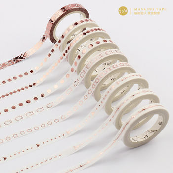 5mm x 5m Rose Foil Gold Slim Washi Tape Diy Decoration Scrapbooking Planner Masking Tape Adhesive Tape Label Sticker Stationery Office Adhesive Tape