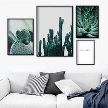 Green Cactus Aloe Tropical Plants Wall Art Canvas Painting Nordic Posters And Prints Pictures For Living Room Decor