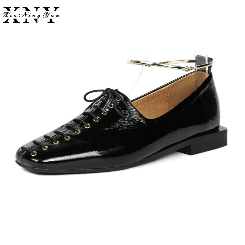 XiuNingYan Brand Women Flat Loafers Shoes Ladies Soft Genuine Leather Fashion Flats Shoes Woman Oxfords Women's Casual Shoes hee grand solid patent leather women oxfords british new fashion platform flats casual buckle strap ladies shoes woman xwd5833