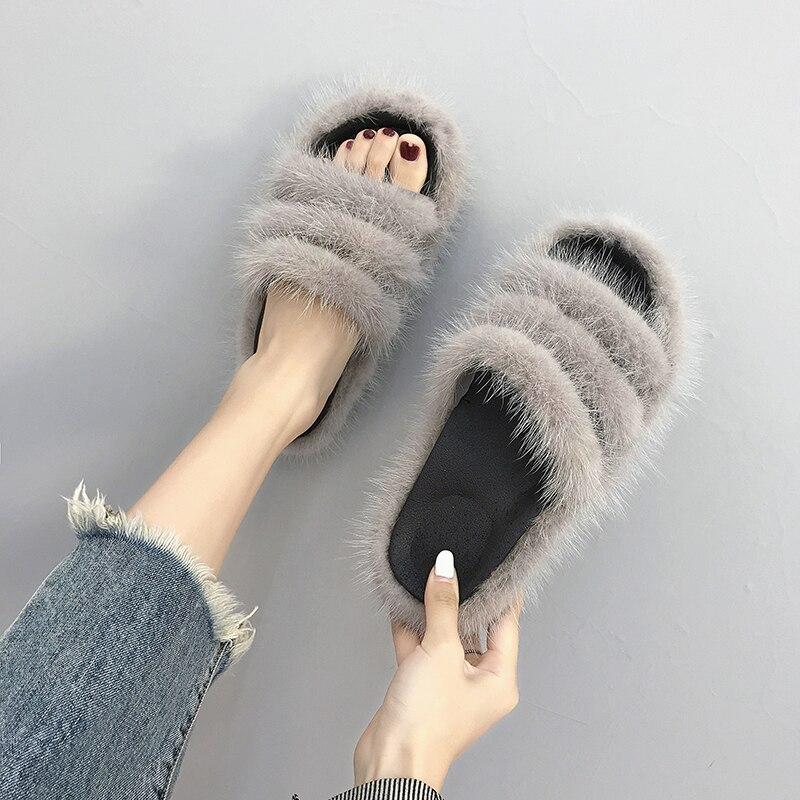 2018 Winter Women's Slippers Gray Real Fur Slippers Shoes Woman Flats Flip Flops Womens Beach Sandals Slides Zapatos De Mujer