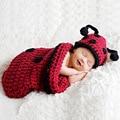 Handmade Knitting Baby Ladybug Photography Props Sleeping Bag Cute Beanies Hats Clothing Set Baby Bunting Bag + Hat 2pcs