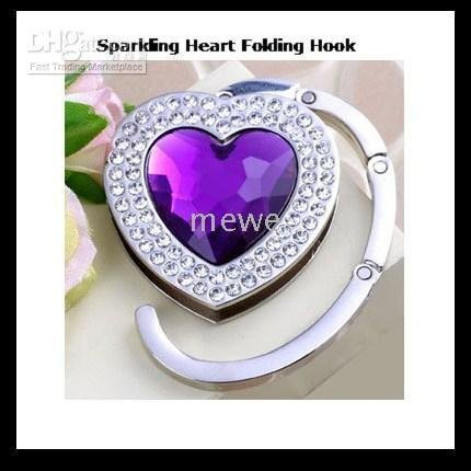 Bag hanger Hook,Heart Shape Tiny Crystal Folding Purse Hangers Hooks, Purple Handbag Hanger Hook