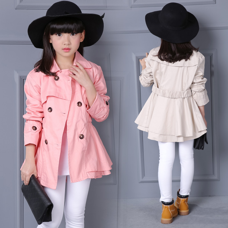 Fashion girl   trench   coat 5-13 year old cotton Solid color belt double breasted coat spring and autumn kids windbreaker 2 color