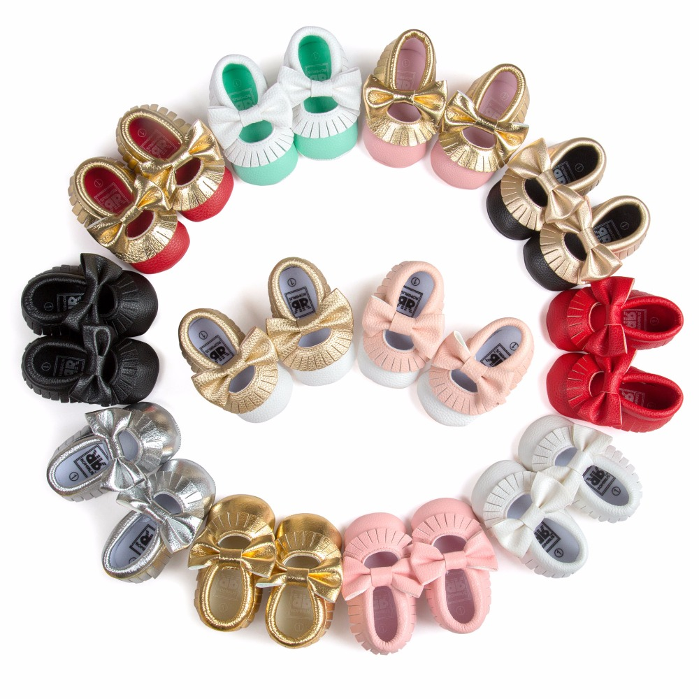 Hot sale style pink baby Bow Toddler shoes Baby Moccasins soft bottom Pu leather crib Non-slip Baby Dress Shoes Seankers