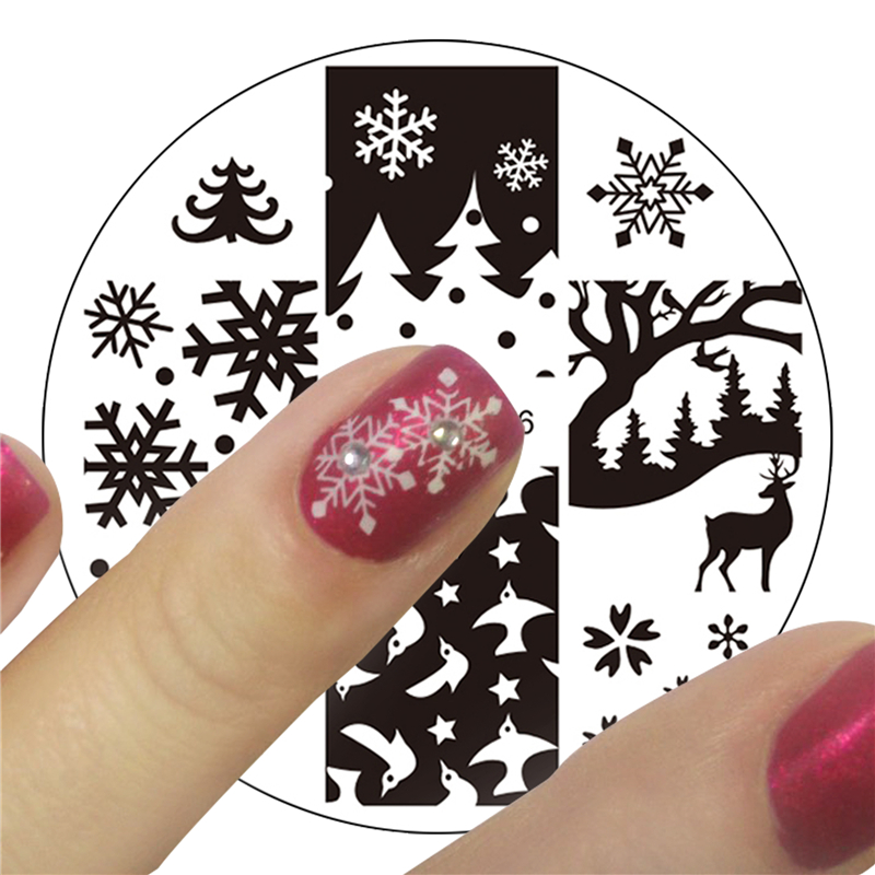 a3fea96898 YZWLE 1 unid Navidad XMAS tema Nail Art sello plantilla foto placa YZWLE  uñas estampado placas conjunto