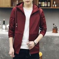 ברדס גברים מעיל מוצק דק להאריך ימים יותר מעילי 2018 אביב Atumn קוריאה סגנון פלוס ביגוד גודל מותג זול סין אדום כחול שחור