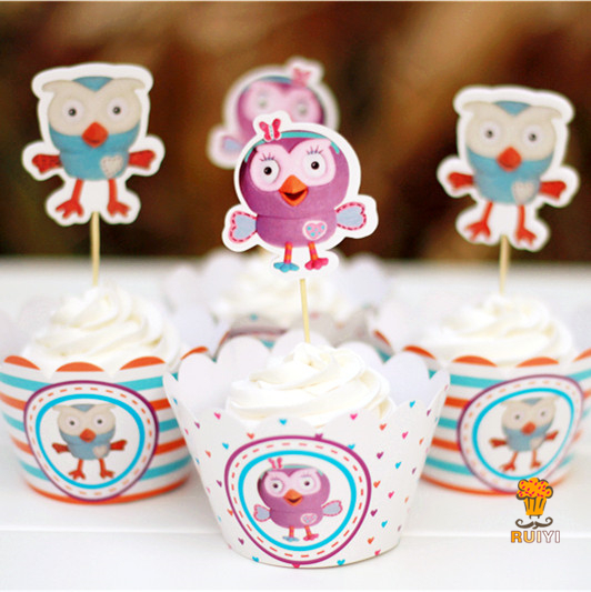 24pcs Anime Giggle And Hoot Owl Cupcake Wrappers Toppers Decoration