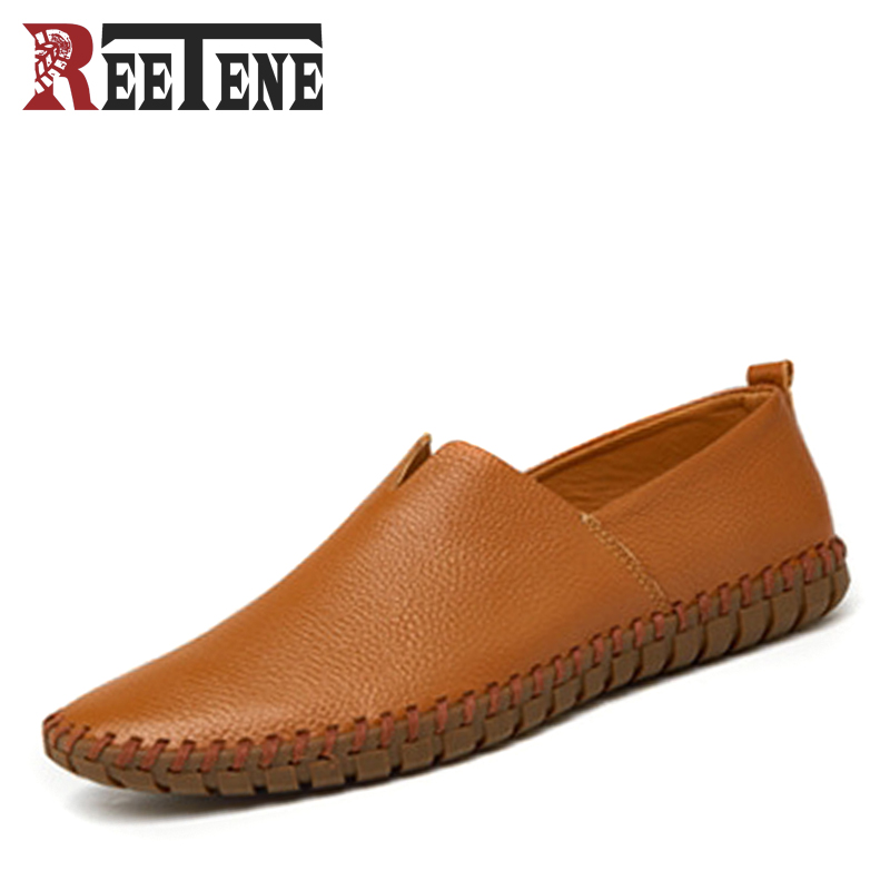 Genuine Leather Men Loafers Large Size 38-47 Slip On Handmade Mens Boat Shoes Comfortable Spring Autumn Formal Male Flats mens shoes casual large size soft genuine cow leather men loafers comfortable breathable slip on men shoes zapatos hombre