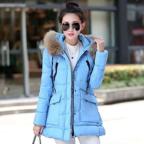 Nova moda Inverno Mulheres acolchoado Jaqueta Fêmea Magro longo Para Baixo algodão Amassado Casaco Mulheres Hoodies Parkas Plus Size