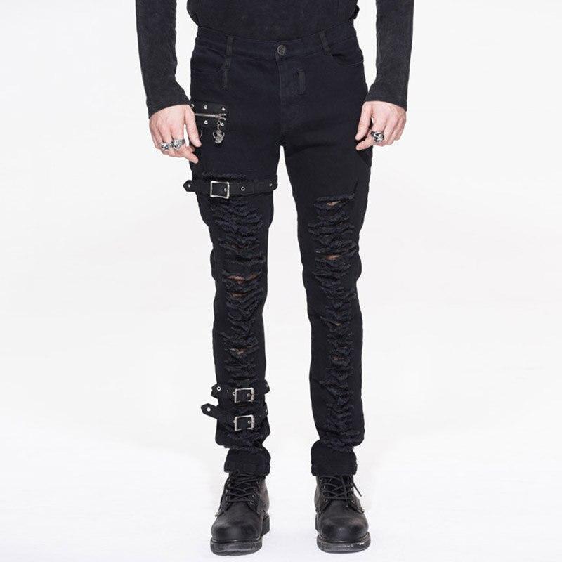 Punk Autumn Winter Fashion Slim Men Holes Long Pants Steam Punk Heavy Metal Rock Front Hollow Out Long Trousers Men Ripped Pants