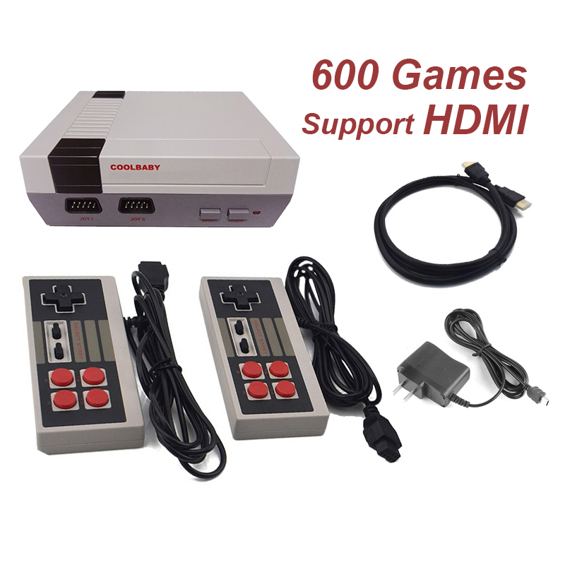 Mini TV Retro Game Console Support HDMI Retro Video Game Console Built-in 8-Bit 600 Classic Games Handheld Game Player coolbaby rs 93 retro game console wireless controller version of the game console built in600 classic games entertainment system