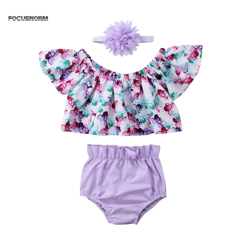 New Fashion Summer Off-shoulder Floral Baby Girl Clothing Set T-shirt Tops+Shorts Pants Clothes 3PCS Set