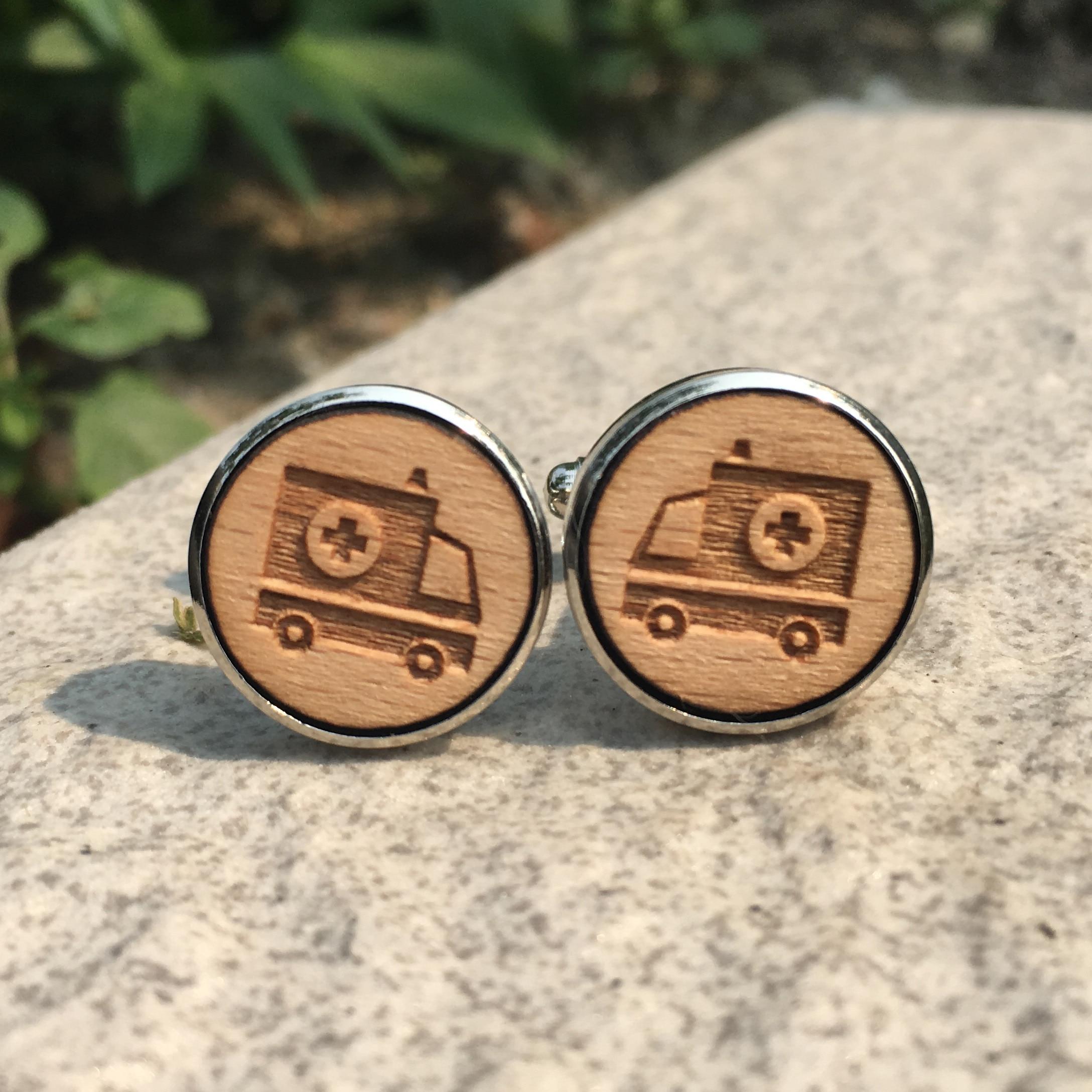 Ambulance Laser Cut Handmade Wood Cufflinks Car Wooden Cuff Link Rustic Wedding Accessory Groomsmen Cuff Links X 1 Pair