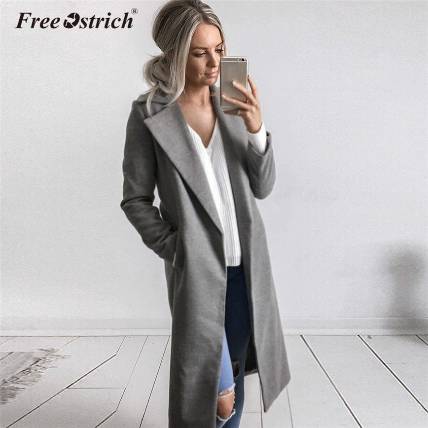 Free Ostrich   Trench   Coat Winter Long Wool Coat Women Solid Slim Outerwear Coat Casual Overcoat Cardigan Casaco Feminino L2135