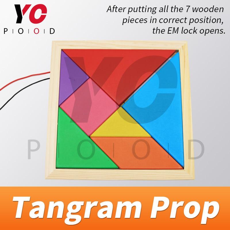 Tangram Prop YOPOOD Escape Room recueillir toutes les pièces de couleur dans la boîte en bois pour trouver des puzzles et débloquer la serrure EM