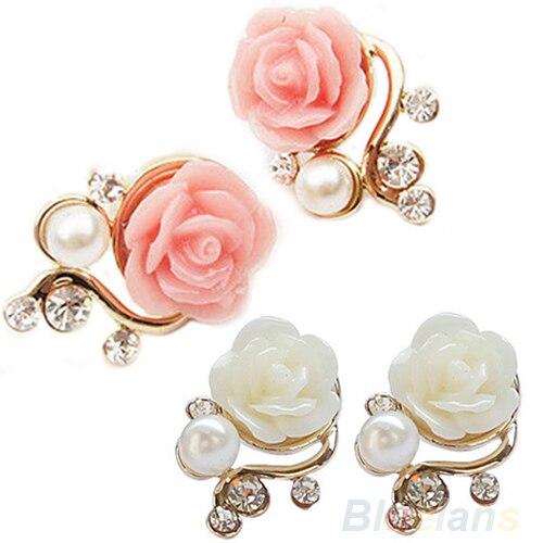 Korean Style OL Pink Rose Flower Shiny Crystal Rhinestone Pearl Stud Earrings  1NIT