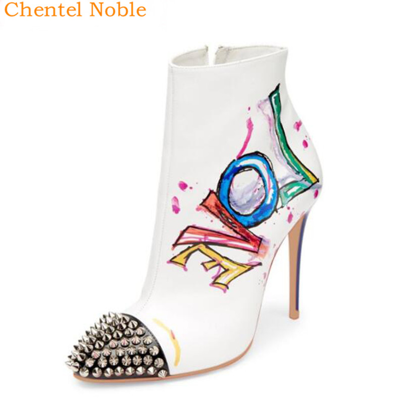 2018 Mujer As Feminino De Picture Noble Remache Bombas Chentel Tacón Zapatos Alto Cuero Marca as Picture Resigner Tacon Punta fwIqrFx4f