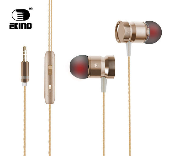EKIND Wired Earbuds Metal Noise Cancelling Stereo In-Ear Wired Earphone Metal Headset with Mic Microphone cbaooo stereo earphone wired in ear headset ear hook earbuds headphone with microphone noise canceling earphones for phone pc