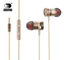 EKIND Com Fio Fones de ouvido de Metal fone de ouvido Com Cancelamento de Ruído fone de Ouvido Estéreo Com Fio Fone de Ouvido Fone De Ouvido De Metal com Mic Microfone
