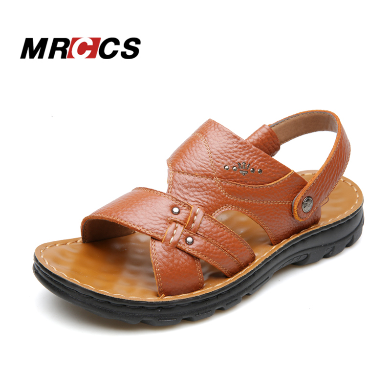Fast Deliver Mrccs Genuine Leather Shock Absorb Sole Sandal Men Shoes,chinese Comfortable Basic Male Sandal Beach Massage Slipper 2018 Summer Men's Sandals