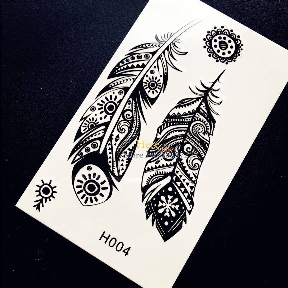 Black indian tribal feather totem temporary tattoo sticker for Temporary tattoo sticker