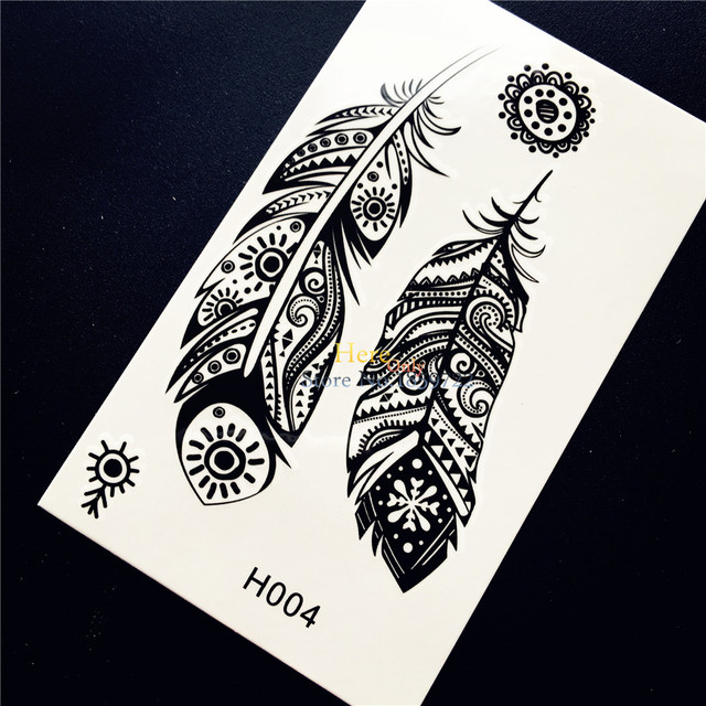 Negro Indio Tribal Plumas Totem Tatuaje Temporal Pegatina Para