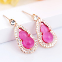 Rose red / Pink gourd Natural Rose Quartz Earrings international fashion jewelry
