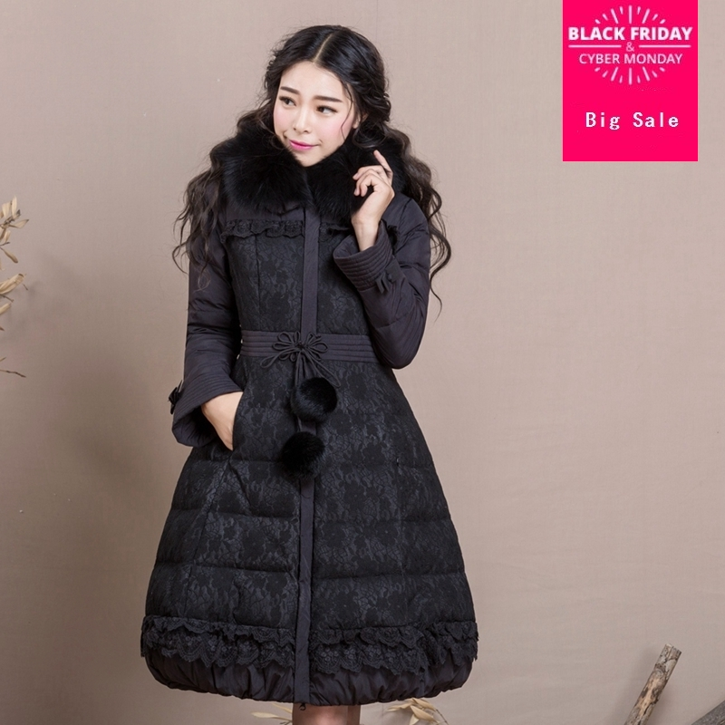 Winter lace stitching real raccoon collar fur   coat   female reffles stitching was slim thicker warm   down     coats   wq548 dropship