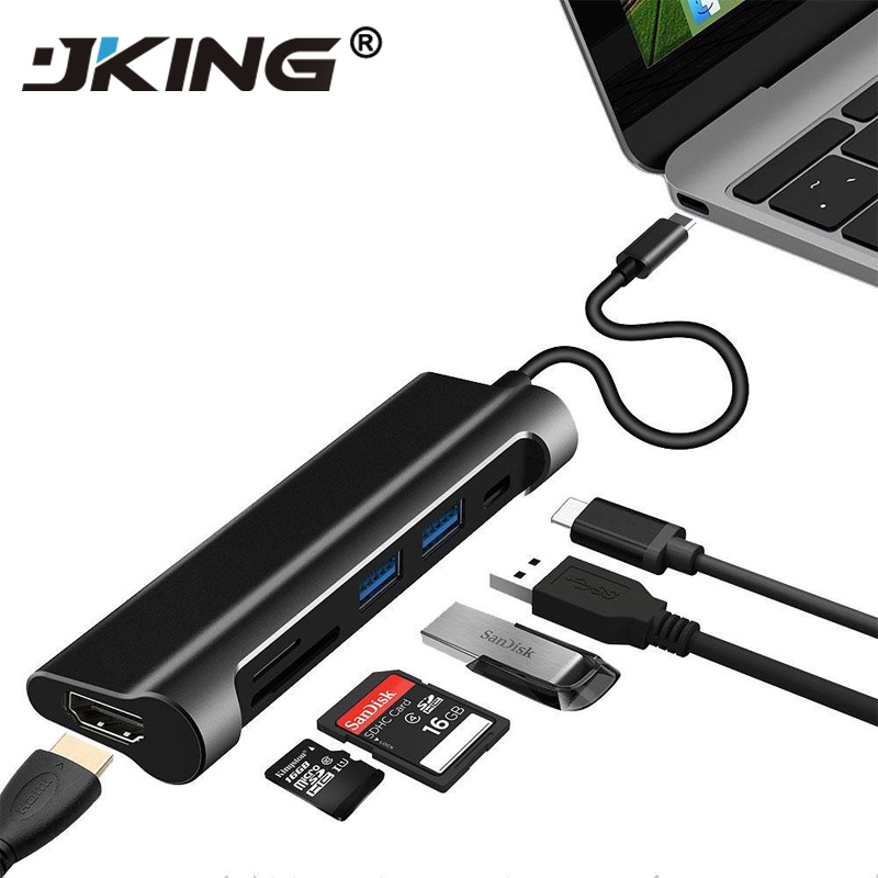 JKING USB C HUB USB C 3.1 to HDMI SD/TF Card Reader USB Type C Charging Port 2 USB 3.0 HUB Adapter for MacBook Pro Type C HUB